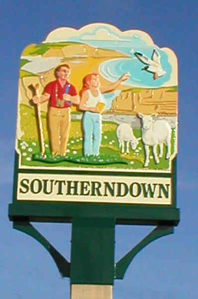 Village sign for Southerndown depicting Dunraven Bay